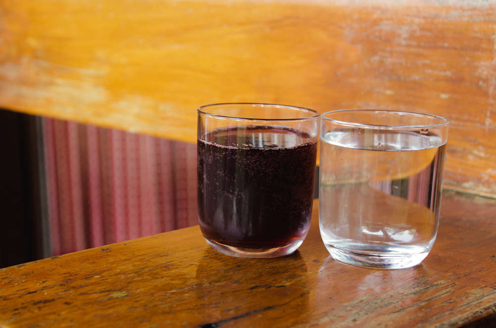 glass of water and glass of wine