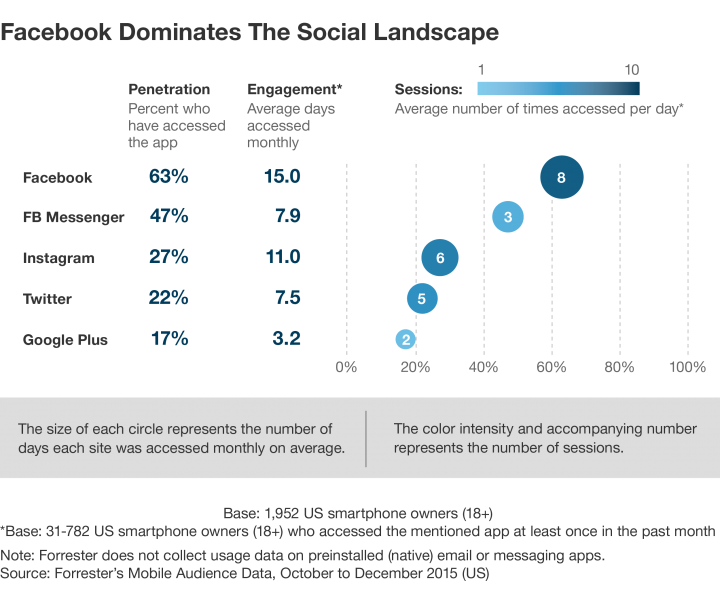 Facebook dominates social landscape chart