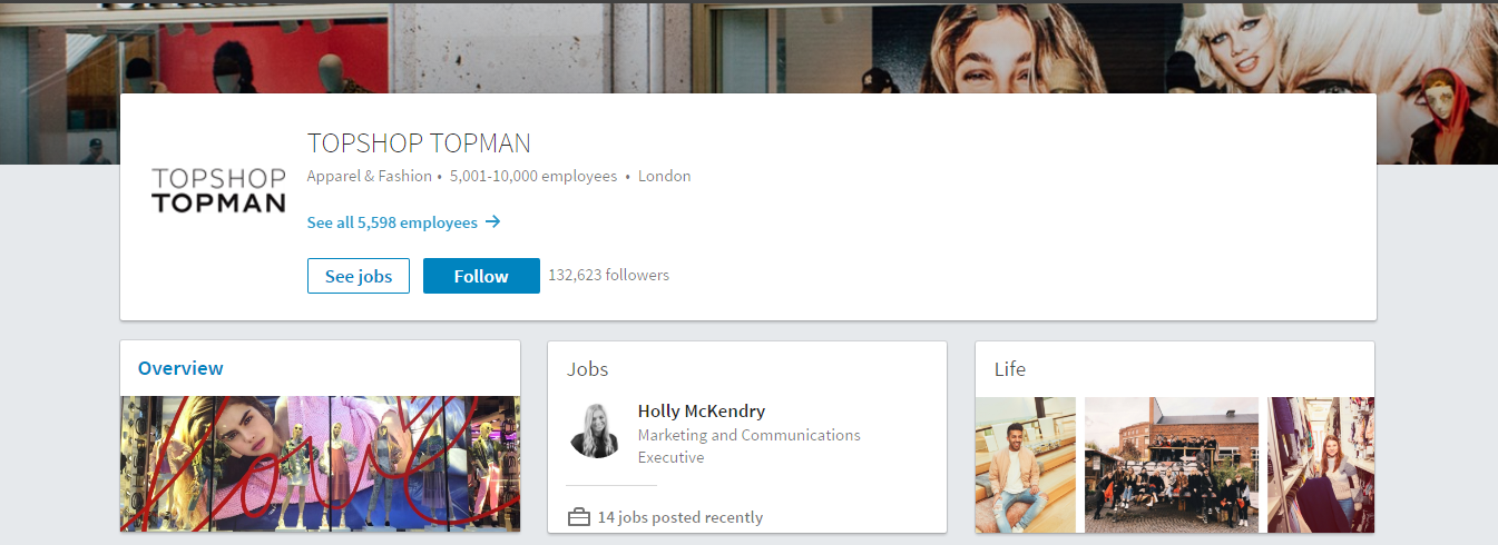 top shop linkedin page