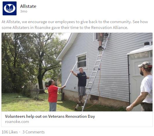 allstate community involvement on linkedin
