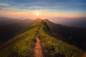 path on a mountain at sunset