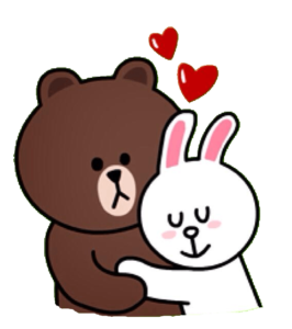 line teddy bear and bunny sticker