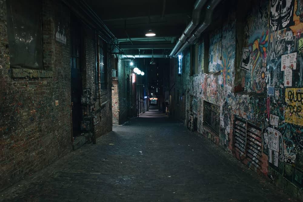 dark grungy alleyway